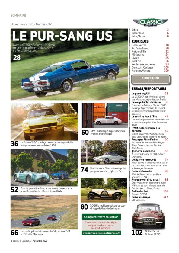 Sommaire Classic & Sports Car 92
